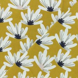 Tissu coton cretonne Myriel - jaune moutarde x 10cm