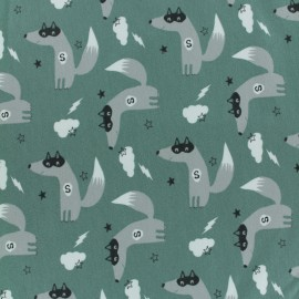 Jersey cotton fabric - Eucalyptus Green Super-Loup x 10  cm
