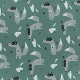 Tissu jersey Super-loup - vert eucalyptus x 10cm