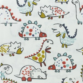 Cretonne cotton Fabric - white Dino x 10cm