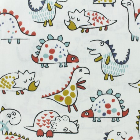 Tissu coton cretonne Dino - Blanc x 10cm