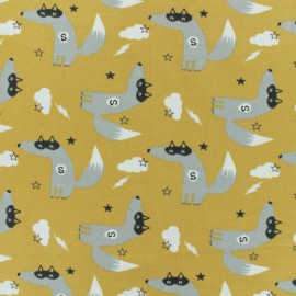 Tissu jersey Super-loup - jaune moutarde x 10cm