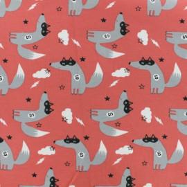 Tissu jersey Super-loup - rouge corail x 10cm