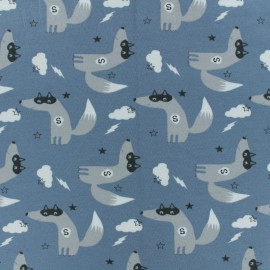 Tissu jersey Super-loup - Bleu x 10cm