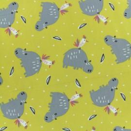 Jersey cotton fabric - yellow Hipiz x 10  cm