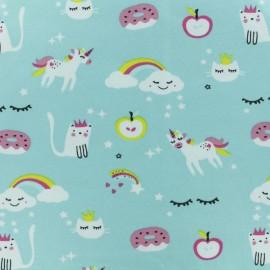 Jersey cotton fabric - Aqua Magicland x 10cm