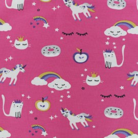 Jersey cotton fabric - Pink Magicland x 10cm