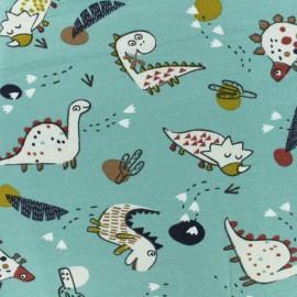Jersey cotton fabric - Sea Green Dinoz x 10  cm