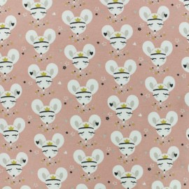 Jersey cotton fabric - light pink Coribel x 10cm