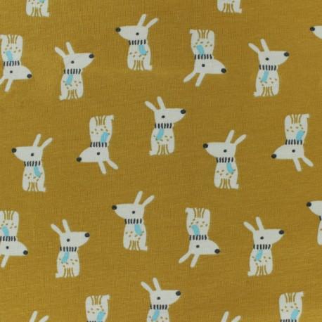 Tissu jersey Melvil - jaune moutarde x 10cm