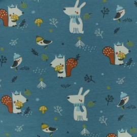 Jersey cotton fabric - Peacock blue Woody x 10cm