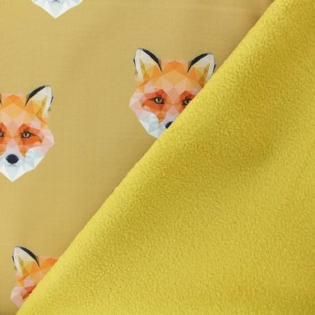 Softshell fabric – mustard yellow Origami Fox x 10cm