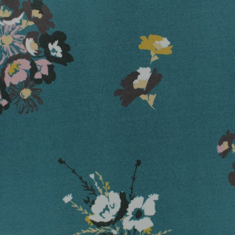 Tissu jersey viscose Caprice - bleu paon x 10 cm