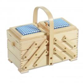 Travailleuse en bois et tissu bleu - Taille M - 3 étages