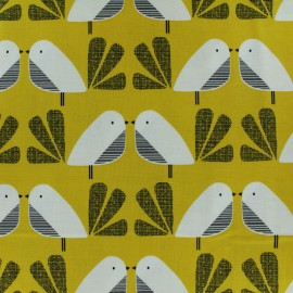Cotton Dashwood fabric Nesting Birds - yellow leaf x 10cm
