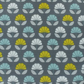 Cotton Dashwood fabric Nesting Birds - grey flower - 10cm