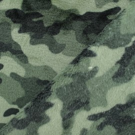 Flanell fleece fabric - camouflage khaki green x 10cm