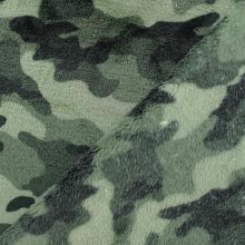 Tissu Doudou camouflage - vert x 10 cm