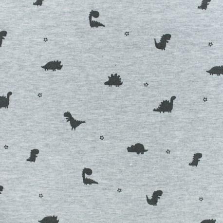 French Terry fabric - Grey Dinomini x 10cm