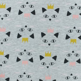 French Terry fabric - Grey Miaou x 10cm
