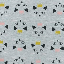 Tissu sweat léger Miaou - gris x 10cm