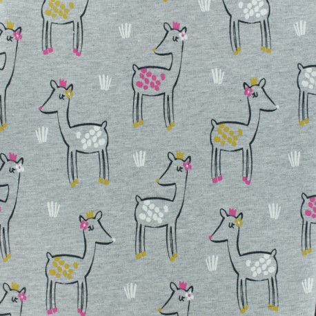 French Terry fabric - Grey Miaou x 10cm