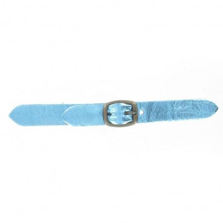 Patte Kilt cuir métallisé bleu avec boucle