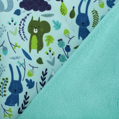 Softshell Poppy fabric - turquoise Robot Dino x 10cm