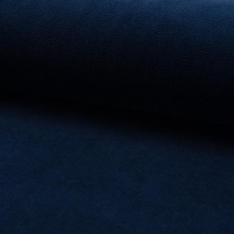 Tissu jersey velours éponge - Bleu marine x10cm