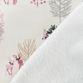Tissu sweat envers minkee Forest - rose clair x 10cm