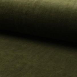 Tissu jersey velours éponge - vert olive x10cm