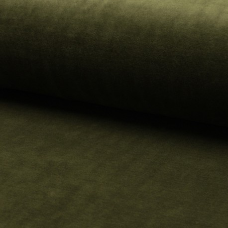 Terry-cloth jersey fabric - olive green x 10cm