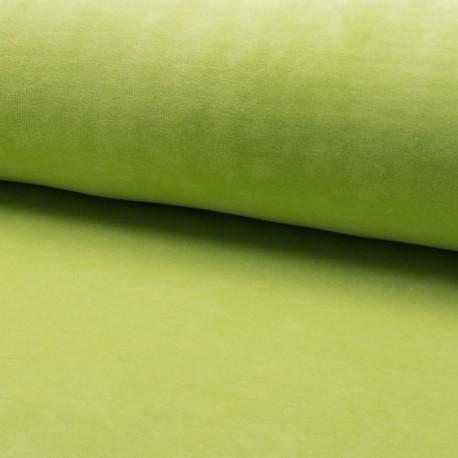 Tissu jersey velours éponge - vert anis x10cm