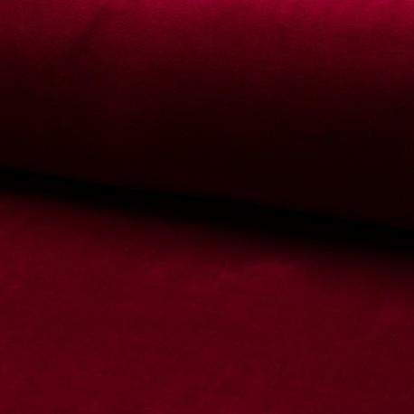 Tissu jersey velours éponge - Rouge foncé x10cm
