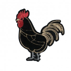 Deluxe Rooster Iron-On Patch - Black
