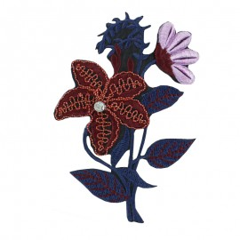 Oriental Flower Iron-On Patch - Blue