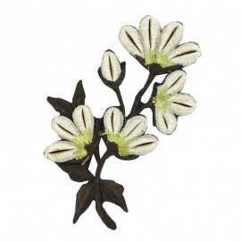 Oriental Flower Iron-On Patch - Beige