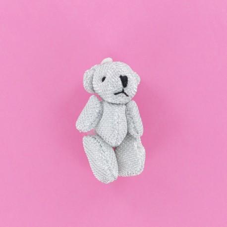 Teddy Bear Pompom - Silver