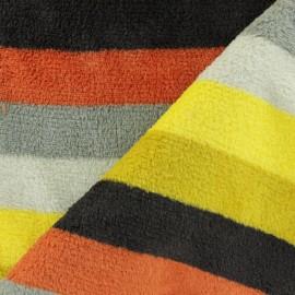 Tissu Doudou rayé - orange x 10 cm