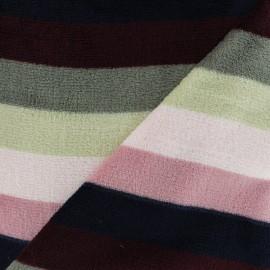 Tissu Doudou rayé - rose x 10 cm