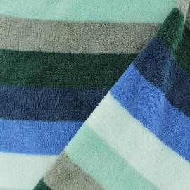 Tissu Doudou rayé - bleu x 10 cm