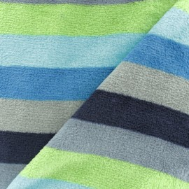 Striped Flanell fleece fabric - green x 10cm