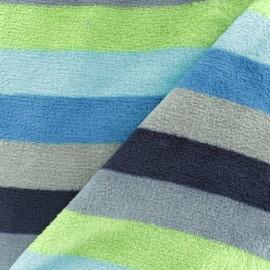 Tissu Doudou rayé - vert x 10 cm