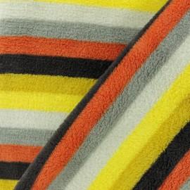 Tissu Doudou rayé Mini - orange x 10 cm