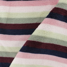Striped Flanell fleece fabric - pinkmini x 10cm