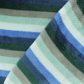 Tissu Doudou rayé Mini - bleu x 10 cm