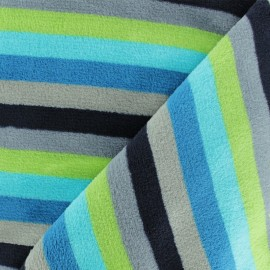 Striped Flanell fleece fabric - green mini x 10cm