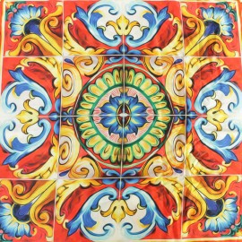 ♥ Only one piece 138 cm X 138 cm ♥  Silk Fabric Golden azulejo - red, orange and blue