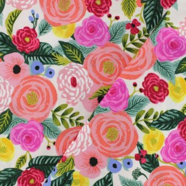 Tissu rayonne Cotton Steel Rifle Paper - Juliet Rose Bleu x 10cm