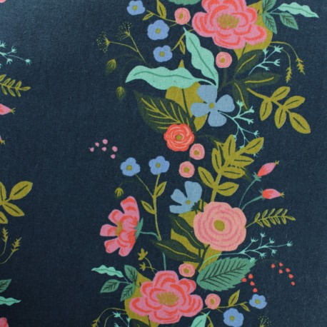 Cotton + Steel cotton canvas fabric - Rifle Paper Blue Garden Vines x 10cm